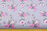 """Отрез ткани """"Птичка с розами"""" на сером фоне (2550), фото 3"""