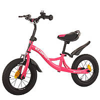 Велокат велобег беговел детский для девочек BALANCE TILLY 12 Compass надувные колеса ручной тормоз Розовый