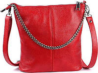 Женская сумочка-кроссбоди Wampum из натуральной кожи флотар Красная (SK_41_red flotar), фото 1