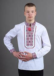 Подростковая вышиванка Капрал ,ткань сорочечная, р 158,164 белая, підліткова вишиванка