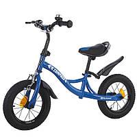 Велокат велобег беговел детский для мальчиков BALANCE TILLY 12 Compass надувные колеса ручной тормоз Синий