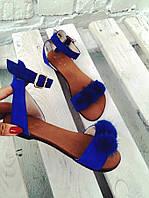Босоножки женские и подростковые сандалии замшевые с помпонами норки цвет синий электрик, р. 34 35 41 42