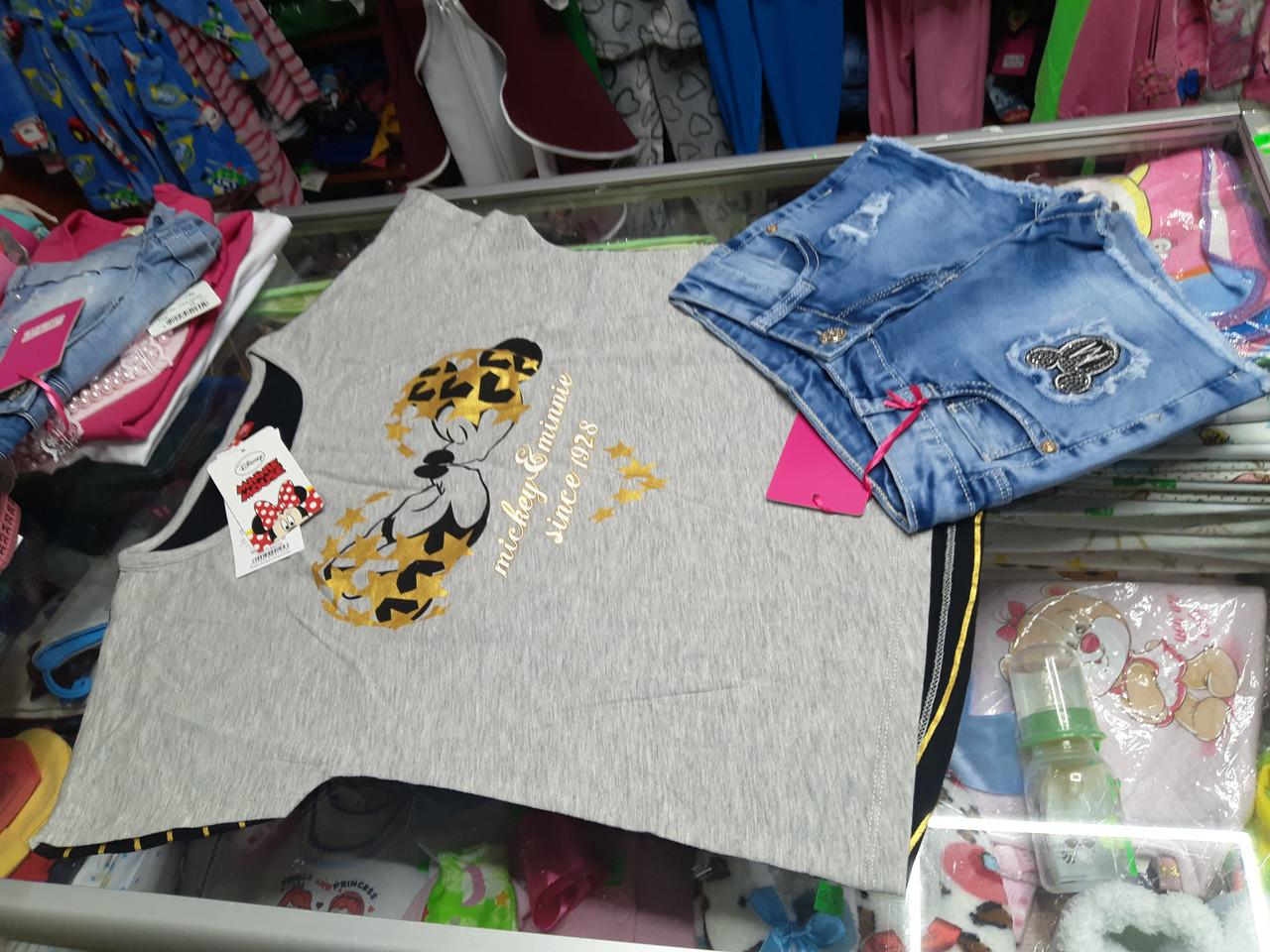 Летний подростковый костюм для девочки с Джинсовыми шортами Минни Маус р.134 -164