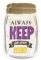 "Декоративна табличка «Банка» з написом ""Always keep an open mind"""