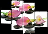 Модульная картина Розовые каллы и чёрные камни  126*93 см Код: W333