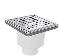 Трап 50*100*100мм с решеткой из нерж стали для внутренней канализации