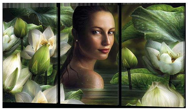 Модульная картина Девушка в воде 124*70 см Код: W326