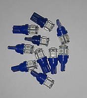 10 шт. Светодиоды для авто клиновидные T10 LED blue W5W 5050 5SMD 192 168 194