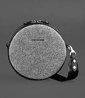 Сумочка круглая, кросс-боди из фетра с черными вставками (ручная работа), фото 1