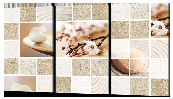 Картина на коже модульная Песок и цветы 124*70 см Код: W278