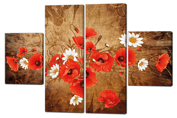Картина модульная Маки и ромашки 126*85 см Код: W226