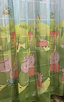 "Тюль готовая ""Свинка Пэпа"", лен-батист (300см*270см), фото 2"