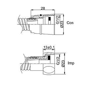 Душевой шланг Rubineta двойной 150см Con/Imp (S.S) (Б) 600014B, фото 2
