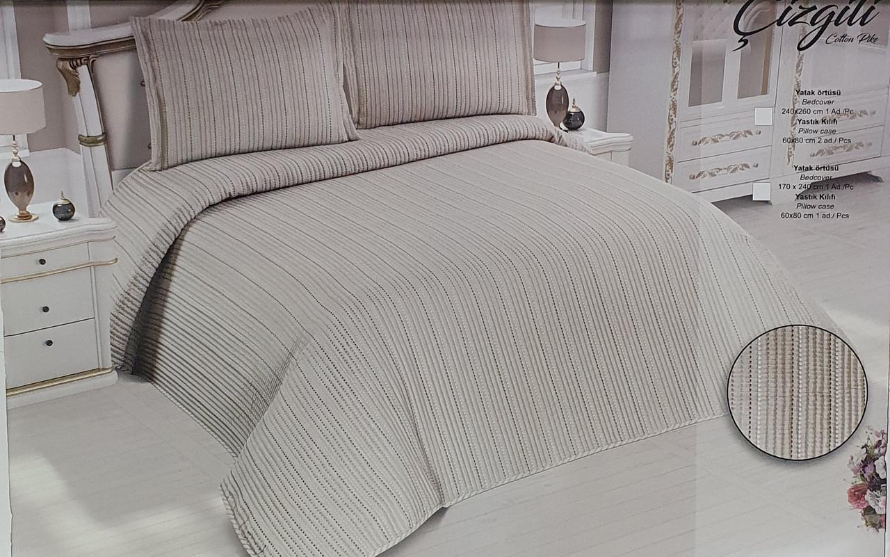 Покривало My Bed Жакард 240x260 з наволочками Gizgili Kahve