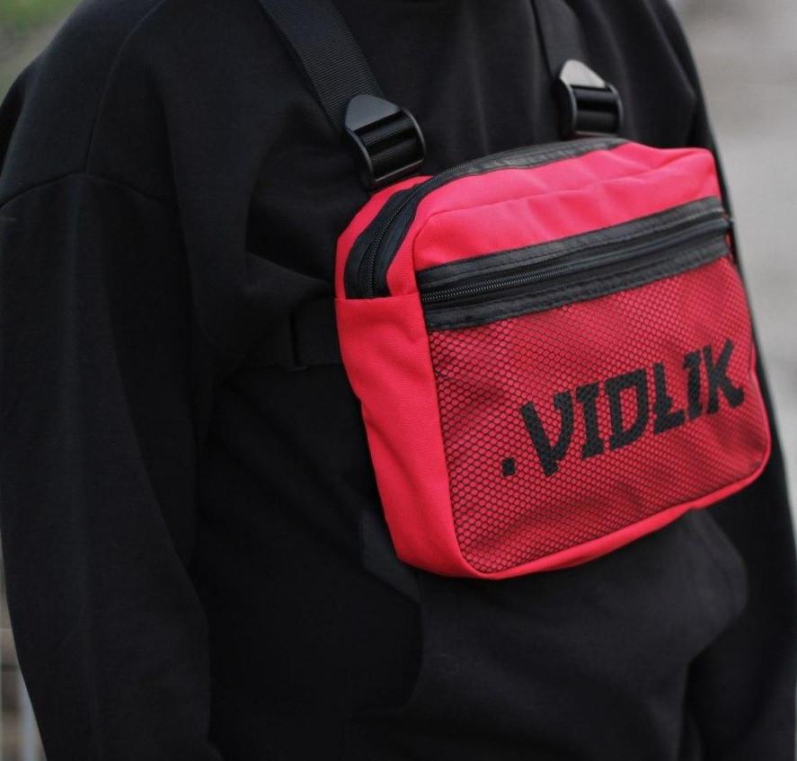 Нагрудная сумка Chest Rig честриг от брэнда .VIDLIK красная. Фото в живую
