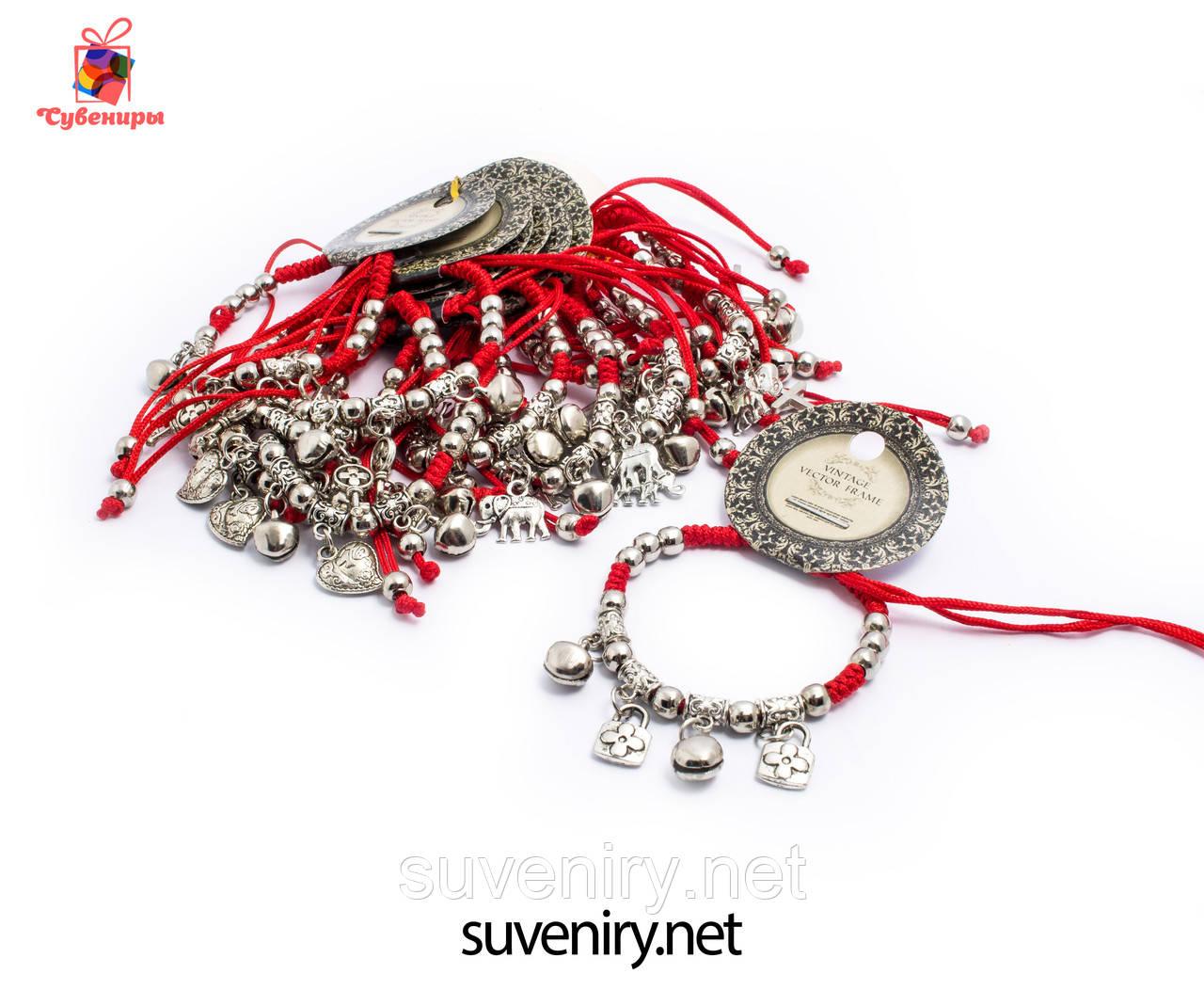 Современно-модный браслет красная нить с разными кулонами