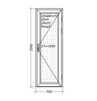 Алюминиевые двери, 700x2050, GoodWin Kurtoglu 40C, белый, глухие