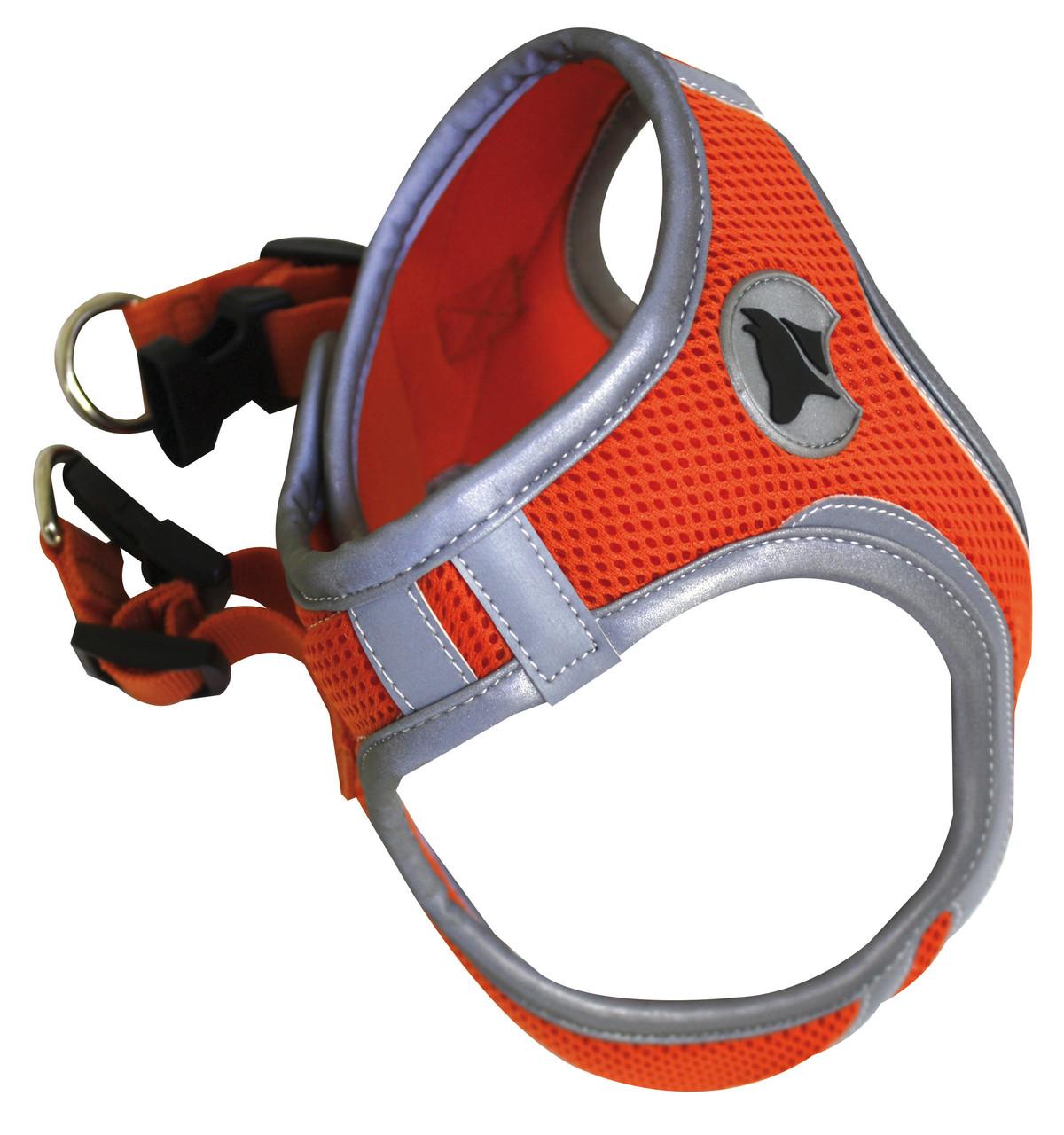 Шлея для собак 53-58 см HIKING REFLECTIVE. Оранжевая, нейлон, XL