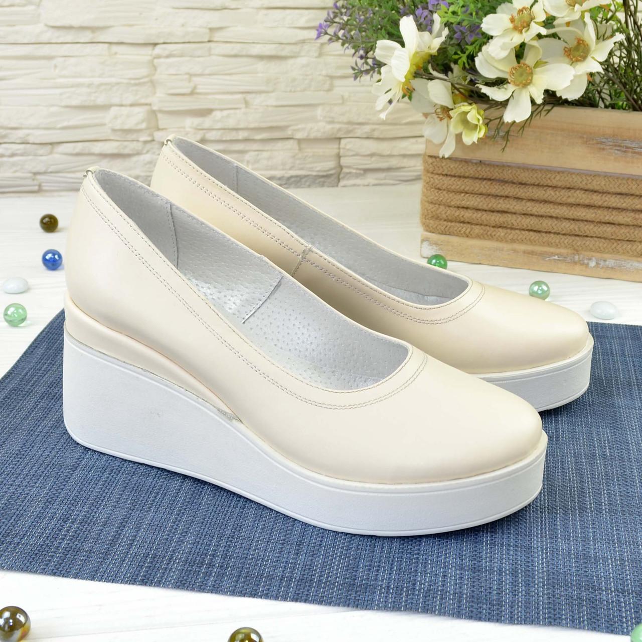 Женские туфли на высокой платформе, из натуральной кожи бежевого цвета