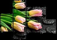 Модульная картина Тюльпаны букет 131*94 см Код: W586M