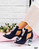 Закрытые синие замшевые босоножки с цветным каблуком женские, фото 8