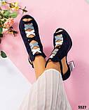 Закрытые синие замшевые босоножки с цветным каблуком женские, фото 9