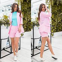 Стильный летний женский костюм тройка: пиджак+шорты+топ р.42-46. Арт-3500/13, фото 1