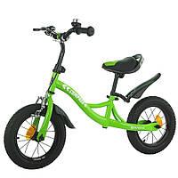 Велокат велобег беговел детский для девочек BALANCE TILLY 12 Compass надувные колеса ручной тормоз Салатовый