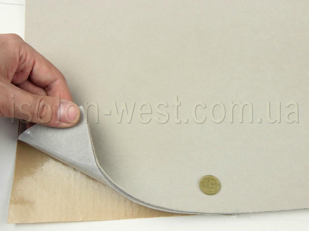 Автовелюр самоклейка светло-бежевой 16815 на поролоне и сетке, Турция (лист 84х100см)