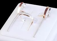 Шикарный Серебряный набор женских украшений с золотыми вставками (пластинами) - серьги и кольцо Устинья