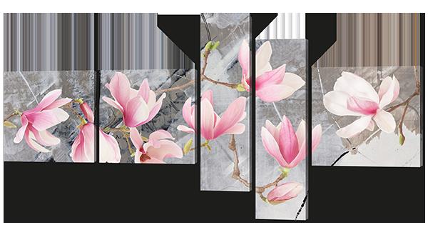 Модульная картина Цветы магнолии на сером фоне 168*84 см Код:W610L