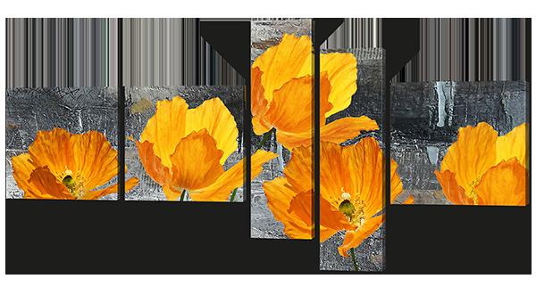 Модульная картина Жёлтые маки на сером фоне 168*84 см Код: W606L