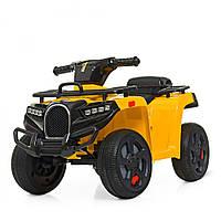 Детский квадроцикл на аккумуляторе ZP5258E-6 с двумя скоростями и бардачком Желтый