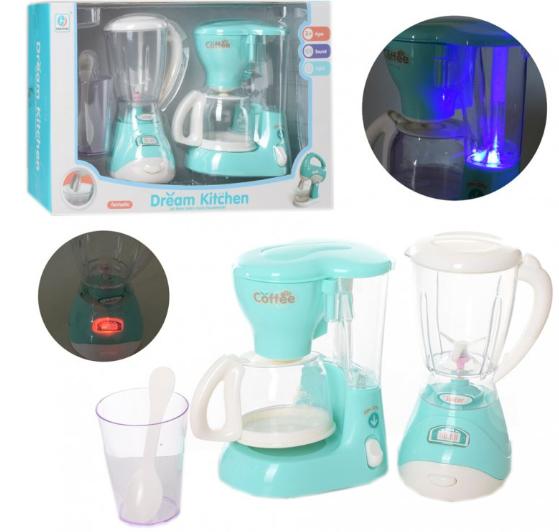 Бытовая техника YH229-2B блендер-вращается винт, кофеварка-льется вода, звук, свет, стакан, ложка