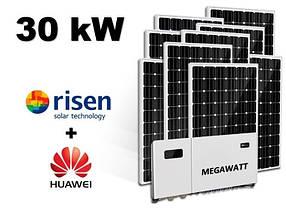 Сонячна електростанція для зеленого тарифу на 30кВт з сонячними панелями Risen 430вт та інвертором Huawei