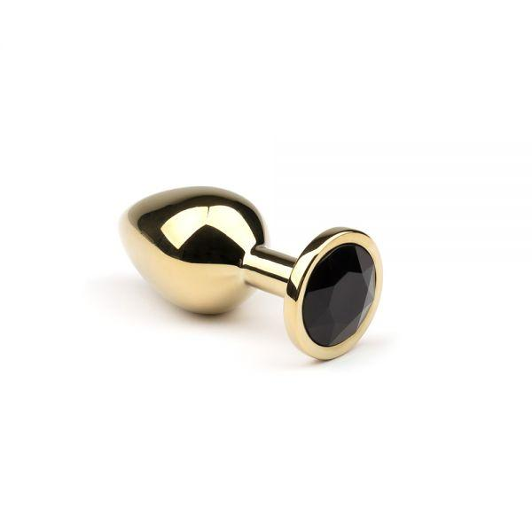 CRYSTAL Металлическая анальная пробка  Gold Black Diamond размер: M  CRYSTAL