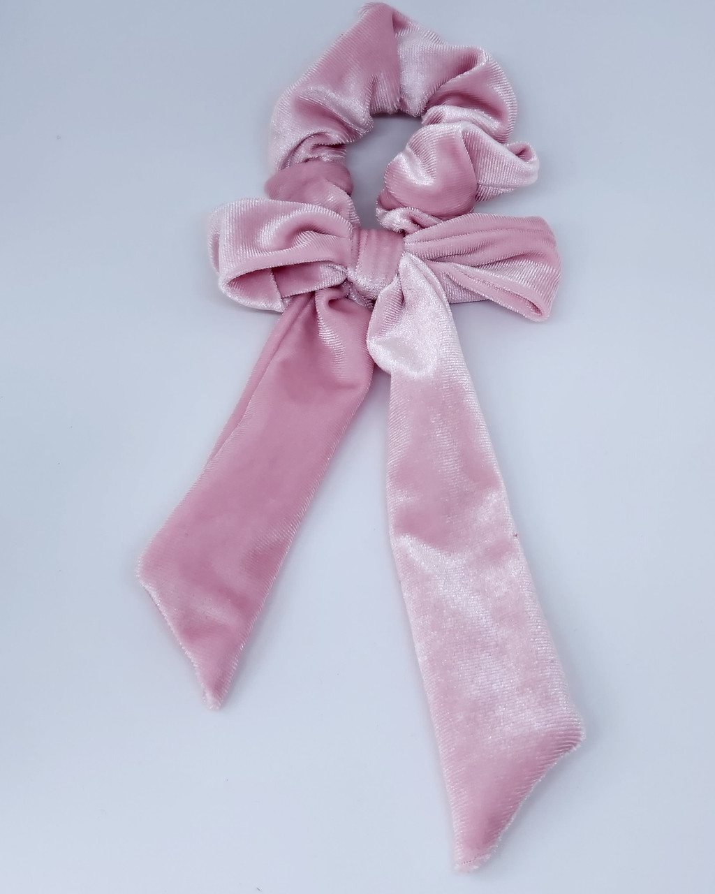 """Гумка для волосся """"Бант оксамитовий"""", рожевий"""