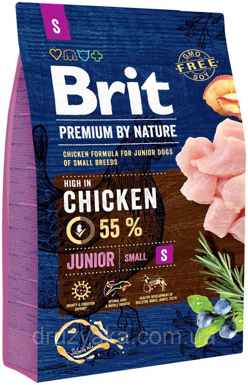 Сухий корм для цуценят та молодих собак дрібних порід (вагою до 10 кг) Brit Premium Junior S, 3 кг (курка)