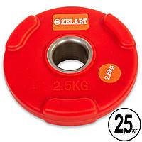 Блины (диски) полиуретановые с хватом и металлической втулкой d-50мм Zelart TA-5336-50- 2,5 2,5кг (красный)