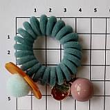 """Гумка для волосся """"Квітуча Пружинка"""" голубий, фото 2"""