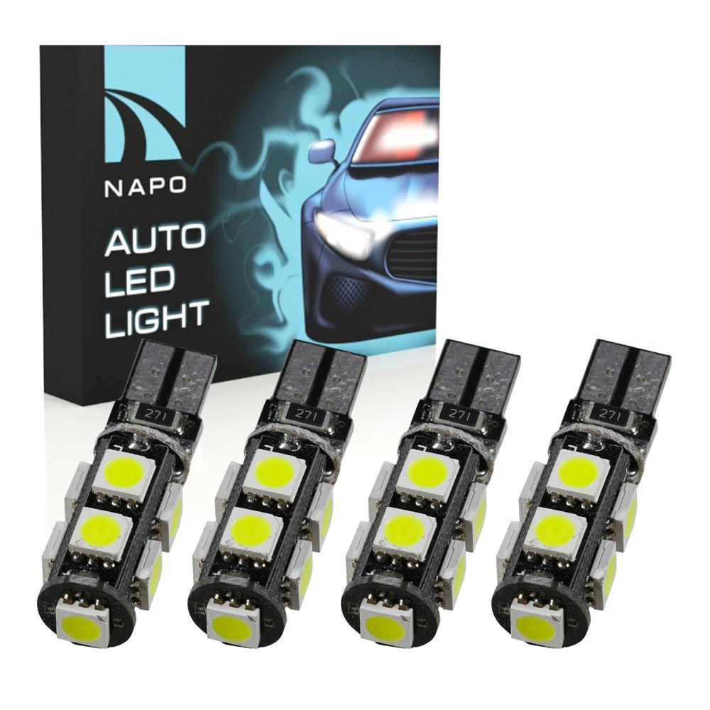 Лампа автомобильная LED T10-5050-9smd-pcb-Can.10290 W5W T10 комплект 4 шт цвет свечения белый