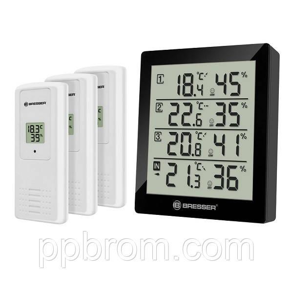 Термометр-гигрометр Bresser Temeo Hygro Quadro black - внут. и внеш. температура и влажность, датчика 3 шт.