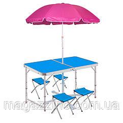 Складаний стіл + 4 стільця у валізі 120х60 див.