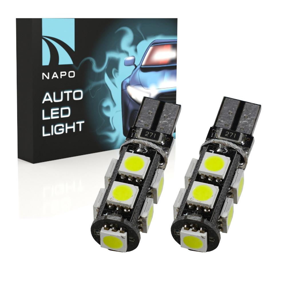 Лампа автомобильная LED T10-5050-9smd-pcb-Can.10290 W5W T10 комплект 2 шт цвет свечения белый
