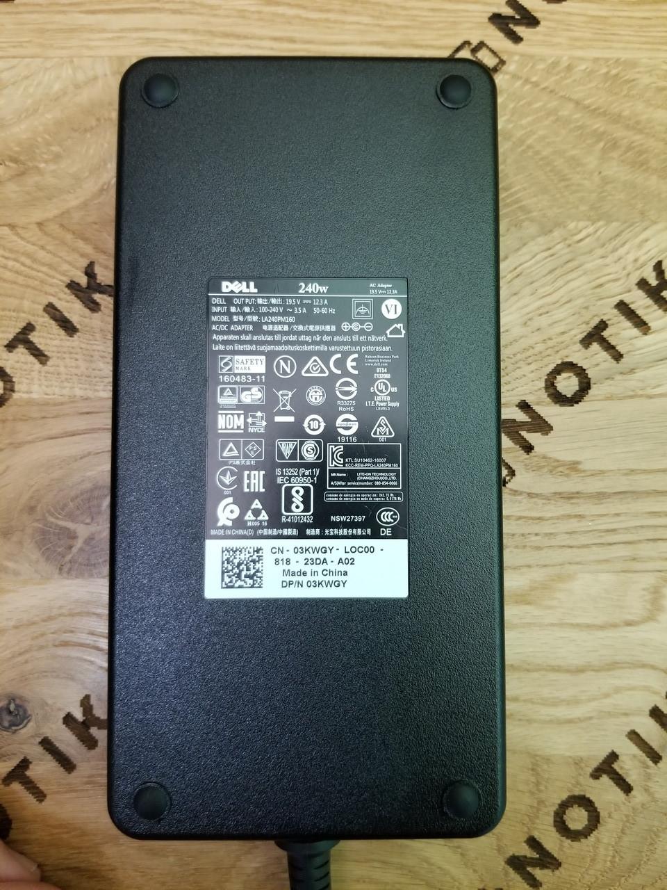 Блок живлення для ноутбука DELL 240W 19.5 V 12.3 A 7.4x5.0mm (la240pm160) ОРИГІНАЛ