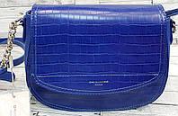 Женский синий клатч David Jones Люкс качества из искусственной кожи под крокодила 23*18 см, фото 1