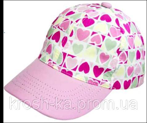 Кепка для девочки Сердца розовая (46-50)р D.Star Украина 405