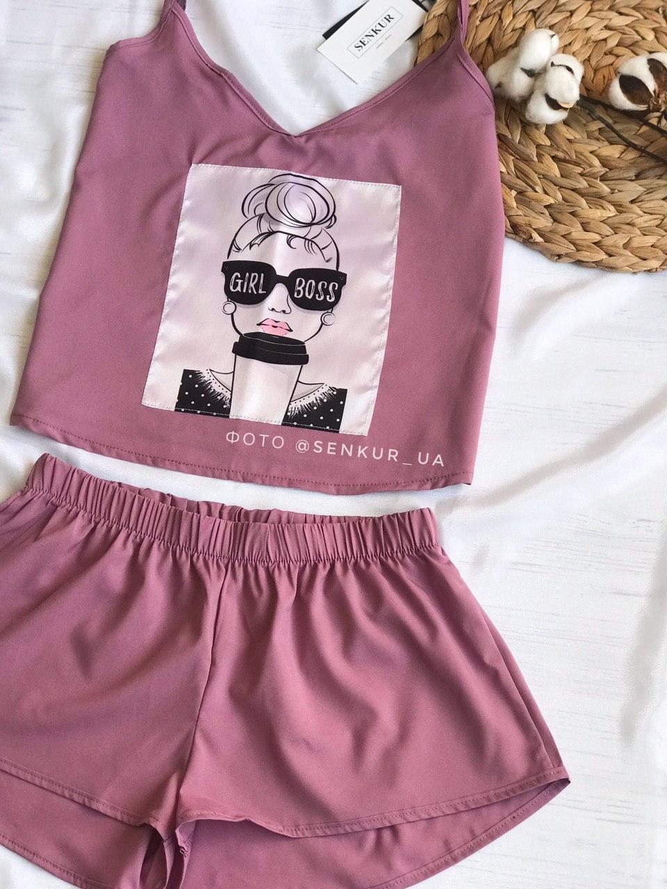 Пижама женская  майка + шорты Girl Boss