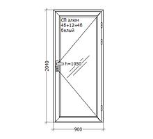 Алюминиевые двери, 900x2050, GoodWin Kurtoglu 40C, белый, стекло