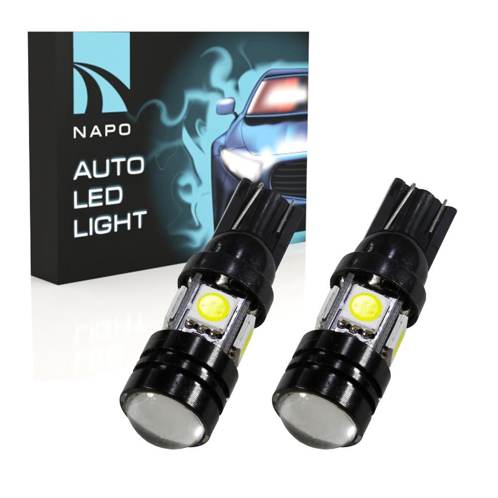 Лампа автомобильная LED T10-5050-4smd+COB W5W T10 комплект 2 шт цвет свечения белый